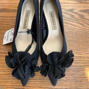 NWT black satin kitten heels